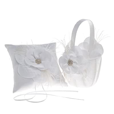 Topwedding White Flower Feather Ring Pillow and Wedding Flower Basket Set