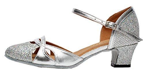 Abby AQ-7007 Womens Latin Tango Ballroom Party wedding Block Heel Round-toe PU Dance-shoes Silver US Size10.5