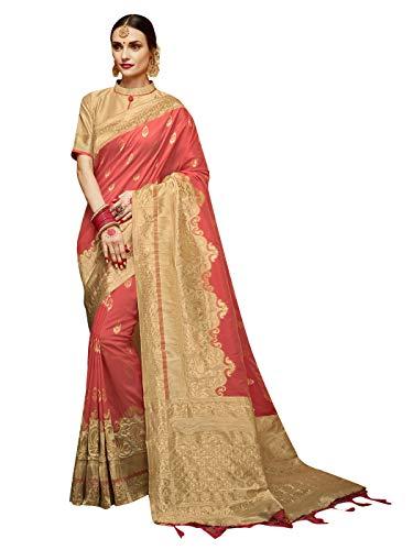 Sarees for Women Banarasi Art Silk Woven Saree l Indian Ethnic Wedding Gift Sari with Unstitched Blouse Peach