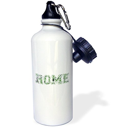 3dRose wb_151372_1 ''Rome-green word art text on white made from vintage Italian map-city souvenir-Italy-travel'' Sports Water Bottle, 21 oz, White by 3dRose