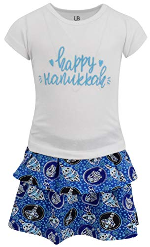 Unique Baby Girls Happy Hanukkah Dreidel Print Skirt Dress
