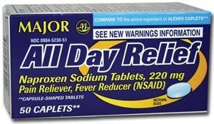 Major Pharmaceuticals 700669 Aleve Naproxen Sod Analgesic Caplet, 220 mg, 50 Caplets ()