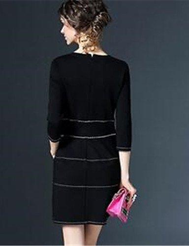 PU&PU Robe Aux femmes Ample Simple,Couleur Pleine Col Arrondi Au dessus du genou Polyester , black-one-size , black-one-size