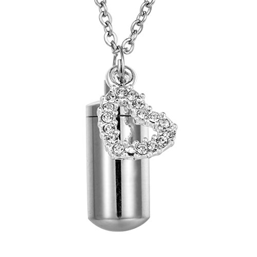 HooAMI Clear Diamond Heart Charm Memorial Urn Necklace Stainless Steel Cremation Jewelry