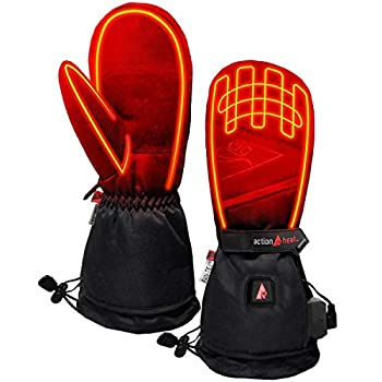 Image of ActionHeat 5V Battery Heated Mittens – Ski Glove Mittens w/Faux Suede Palm, Polyester Lining for Warm Winter Hunting Skiing Hiking Camping Heating Pads