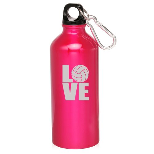 Hot Pink 20oz Aluminum Sports Water Bottle Caribiner Clip ZW412 Love Volleyball