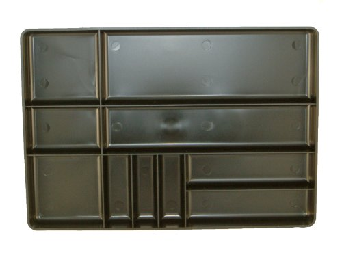 (Protoco 6010 Tool Box Organization Plastic Tray with 10 Compartment, 16-Inch x 11-Inch x 1.5-Inch, Black)