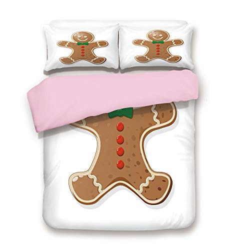 Pink Duvet Cover Set,Queen Size,Iconic Seasonal Baked Pastry Sugary Treats for Kids Joyous Fun Xmas Decorative,Decorative 3 Piece Bedding Set with 2 Pillow Sham,Best Gift For Girls Women,Caramel Red G ()