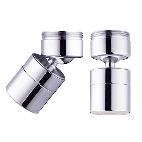Polished Chrome Aerator - Waternymph 1.8GPM Kitchen Sink Aerator Solid Brass - Big Angle Swivel Faucet Aerator Dual-function 2 Sprayer -15/16 Inch - 27UNS Male Thread- Swivel - Polished Chrome