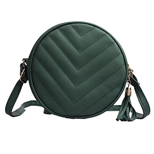 Dainzuy Crossbody Bags for Women Travel Zipper Solid Color Tassel Shoulder Bags Messenger Bag Phone Bag Cross Body Bag Green ()