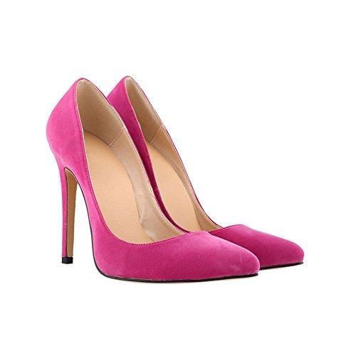 Haodasi Damen 11CM High Heel Spitze Stilettos Wildleder Leder Klassisch Schuhe Rose Red