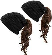 KRATARC Women Ponytail Beanie Hat Soft Knit Beanie Warm Winter Hat Running