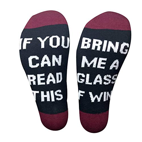 If You Can Read This Bring Me Some Wine Pizza Donut Gift Socks - Perfect Hostess or Housewarming Gift Idea (Wine-(Wine red), Short) -