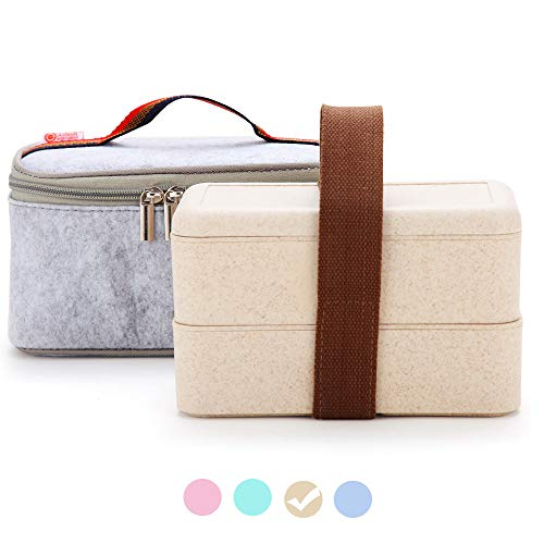 Japanese Bento Box, Arderlive Stackable Wheat Straw Portable Leakproof Lunch Box with Lunch Bag, Eco-friendly Food Storage Container for kids.(White)