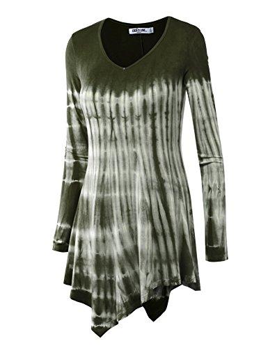 Lock and Love LL Womens Long Sleeve Handkerchief Hem Tie Dye/Ombre Tunics - Made in USA