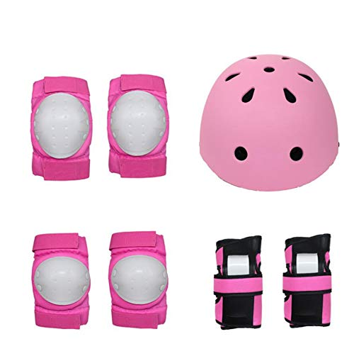 High Impact and Flexible 7pcs Children Protective Gear Set Elbow Pads Knee Pads Wrist Protector for Cycling Roller Skating Skateboard Light and Easy use (Color : Pink)