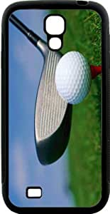Rikki Knight Golf Ball and Tee Samsung Galaxy S4 Case Cover (Black Hard Rubber TPU with Bumper Protection)