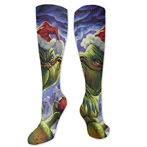 SARA NELL Knee High Socks The Grinch Who Stole Christmas Knee High Compression Stockings Athletic Socks Personalized Gift Socks Men Women Teens Girls
