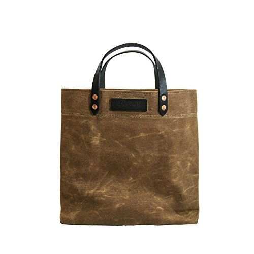 Grocery Tote - Waxed Canvas - Tan - Made in USA by Hardmill
