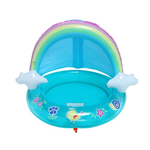 Jiayit US Fast Shipment Rainbow Children's Spray Ring Baby Pool, Rainbow Splash Pool with Canopy, Spray Pool of 40In, Water Sprinkler ()