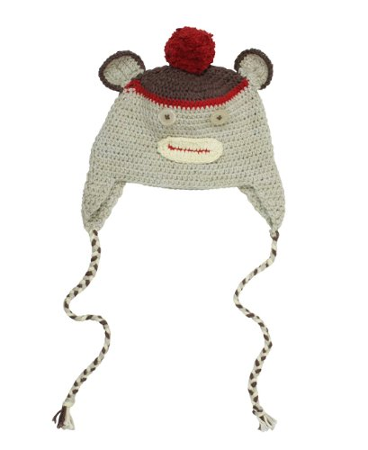 RuggedButts Infant / Toddler Boys Handmade Knit Monkey Beanie Hat - Red/Tan - 0-6m