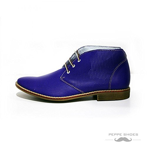 in Uomo in Chukka Vacchetta Blu Bresica Boots Rilievo da Handmade Pelle Allacciare Italiano Pelle Modello TZq1Xx