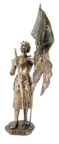 Sword Statue (Folk Hero Saint St Joan of Arc with IHS Maria Flag and Sword Cold Cast Bronze Statue Figurine)