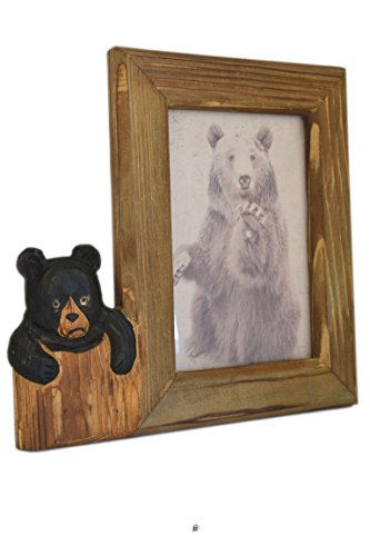 American Chateau Hand Carved Wood Baby Bear Tabletop/Wall 5'' X 7'' Photo Picture Frame by American Chateau