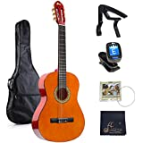 39 Inches Classical Guitar Full Size Beginner Acoustic with Bag Capo Tuner Strings
