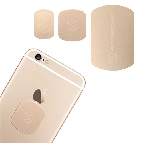 SCOSCHE MagicMount Magnetic Mount Replacement Plate Kit - MagicPlate Color Matching Plates for iPhone/iPad and Other Smart Devices - Includes 3 Plates and 2 Cleaning Swabs - Gold (MAGRKGDI)