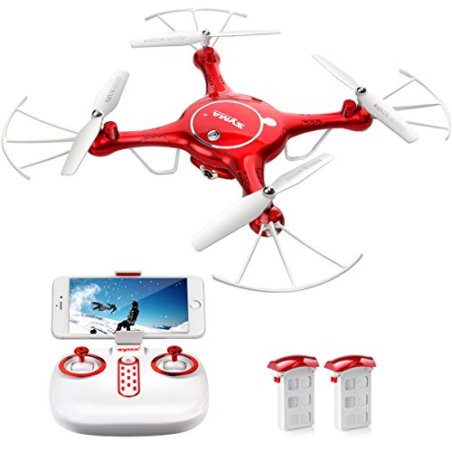 DoDoeleph Syma X5UW FPV RC Drone with 720P HD Wi-Fi Camera Live Video Training Quadcopter for Beginners- Altitude Hold Headless Mode Gravity Sensor One Key Return Includes Bonus Battery by DoDoeleph