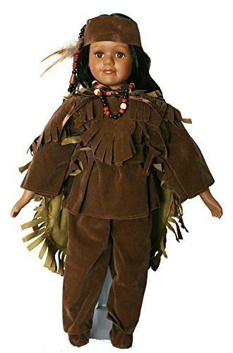 elain Doll 18 Inches with Traditional Faux Brown Leather suite with Cloak with Beading and Headdress and Feather. ()