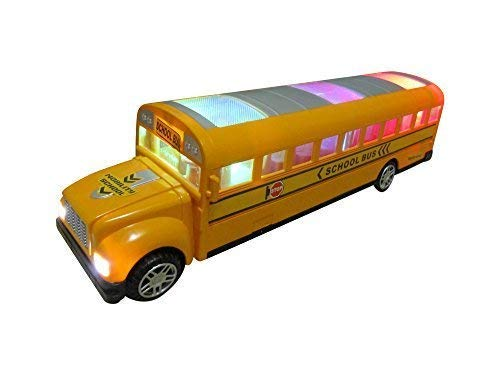 Green School Bus Bump and Go Action - Beautiful Attractive 3D Flashing Lights and Musical Sounds - School Bus Toy for Kids 3 and up Bump and Go Toy