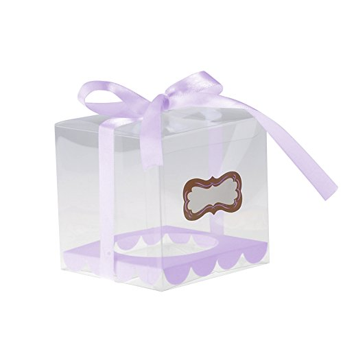 Toifucos 12pcs Clear DIY Cupcake Boxes Pudding Case for Christmas Wedding Birthday Shower Party Favor Boxes, Purple