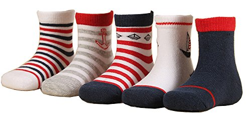 (CHUNG Little Boys Girls Toddlers 5 Pack Cotton Crew Socks, B030K, 1-3 Years)