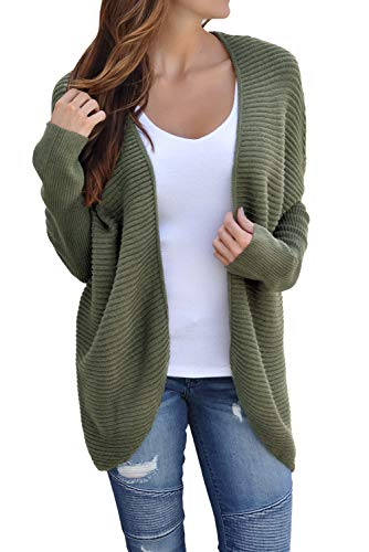 Bdcoco Women's Soft Knit Sweater Outwear Open Front Kimono Cardigans Army Green X-Large