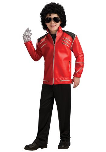 Michael Jackson Child's Deluxe Red Beat It Zipper Jacket Costume Accessory, (Michael Jackson Costumes For Kids)