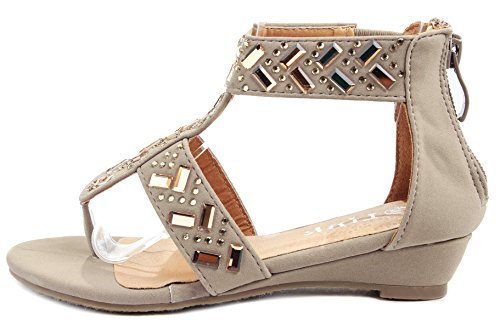 Link Adward Kids Taupe Sparkle Rhinestone T-strap Ankle Cuff Low Wedge Dress Thong Sandal Shoes-12