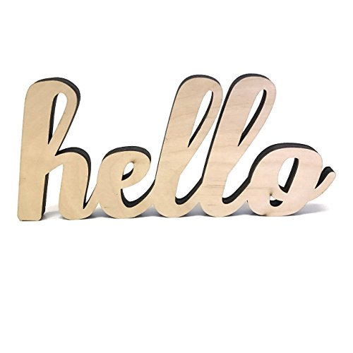 Wood Hello Cutout Sign Made of Birch Plywood and Natural Color