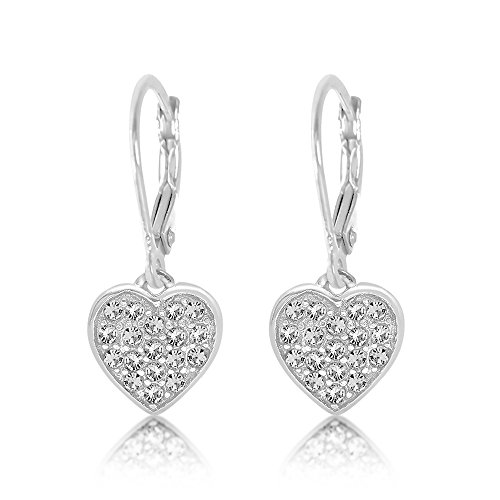 Premium 8MM Crystal Heart Leverback Kids Baby Girl Earrings With Swarovski Elements By Chanteur – 925 Sterling White Gold Tone – Perfect Gift For Children - Crystal Gold Tone Heart