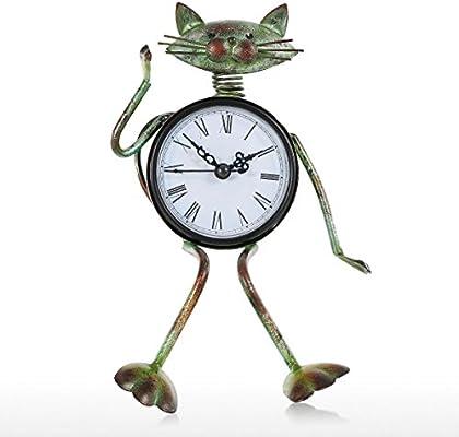 Tooarts Reloj Retro de Mesa Hechao a Mano Forma de Gato Reloj de Metal Regalo para Niños Adorno en la Casa Usar Batería de AA (NO INCLUYE BATERÍA): Amazon.es: Hogar