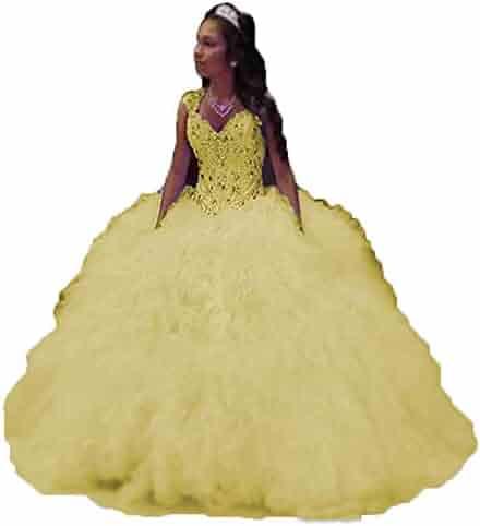 4a175723f8f0 Beautydress Women Ball Gown Organza Ruffles Long Quinceanera Dresses for  Prom