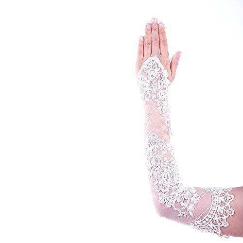 KNIGHTLY LESS Women Wedding Gloves Fingerless Lace Bridal Gloves Sequins Banquet Evening Party Dress Gloves (Medium) ()