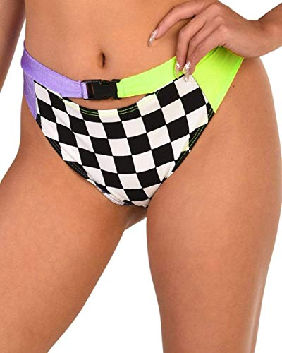 iHeartRaves Vroom Vroom Checker High Waisted Booty Shorts (Black, Small)