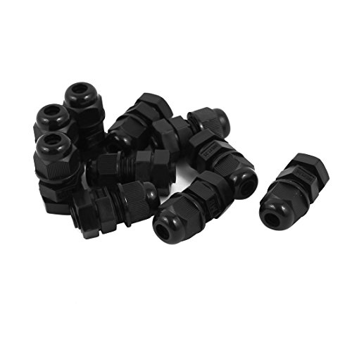uxcell Black M8 Water Resistance Cable Gland Fixing Connector Joints Fastener 10 PCS ()