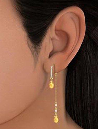 14K Or jaune 0,1ct tw White-diamond (IJ | SI) et citrine et blanc perle Boucles d'oreilles