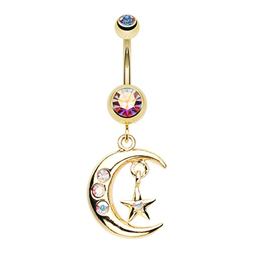 Star Gauge Belly 14 Ring (Golden Moon and Star WildKlass Belly Button Ring)
