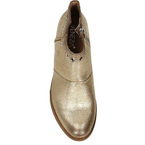 Gold Nilkkurit Niiteillä Nahka E amp; Fashion Metallic Venezia Muoti Navajo Naisten Kulta Ankle Shoes Metallinen Boots Studs By Venezia Navajo With Leather E Women's Kengät amp;a wUHRqUX