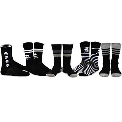 TeeHee Men's Fun and Fashion Cotton Crew Socks 5-Pack (Skulls and Stripes)