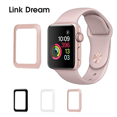 Apple Watch Tempered Glass 38mm Series 2-3D Metal Frame Full Coverage Screen Protector [Anti-Bubble] [Scratch Resistant] [Waterproof] for Apple Watch, Rose - Series Sp3